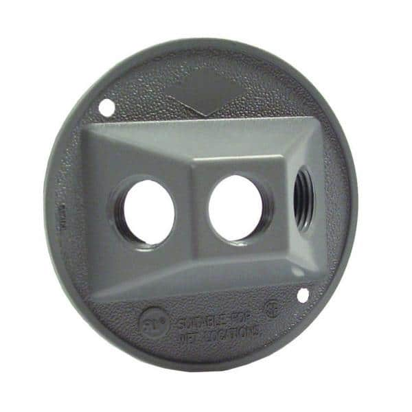 Bell 4 In Round Gray Weatherproof Cluster Cover With Three 1 2 In Outlets 5197 0 The Home Depot