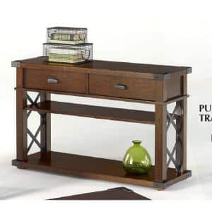 Landmark 48 in. Vintage Ash Standard Rectangle Wood Console Table with Drawers