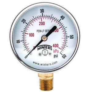 PEM-LF Series 2.5 in. Lead-Free Brass Pressure Gauge with 1/4 in. NPT Bottom Connection and 0-60 psi/kPa