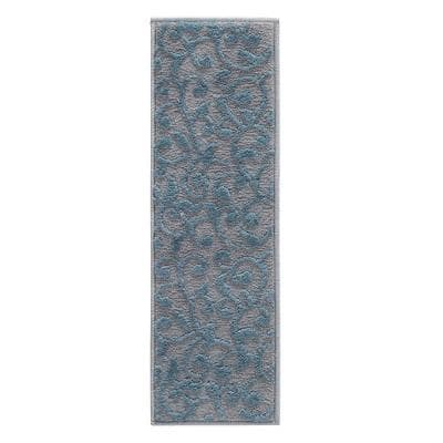 Leaves Collection Teal 9 in. x 28 in. Polypropylene Stair Tread Cover (Set of 7)