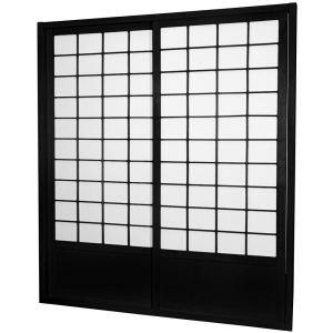 7 ft. Black Double Sided 2-Panel Sliding Door