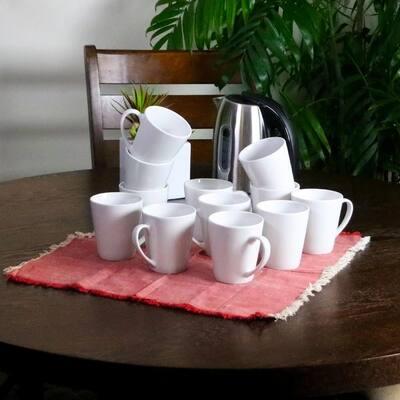 Noble Court 12 oz. White Coffee Mug (Set of 12)