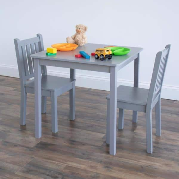 Humble Crew 3 Piece Grey Kids Large, Toddler Table And Chairs Set