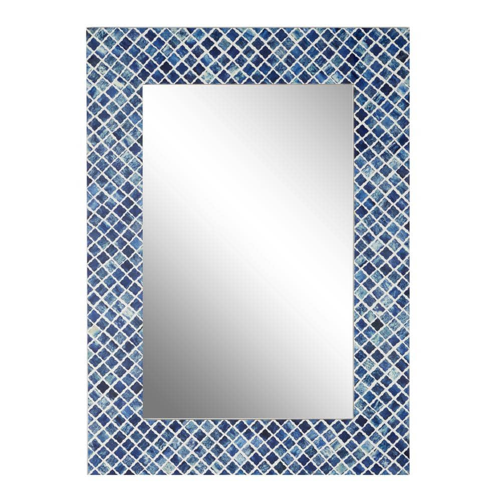 Litton Lane Rectangular Wood And Bone Wall Mirror With Blue Shell Square Mosaic Patterned Frame 26 In X 36 In 22350 The Home Depot
