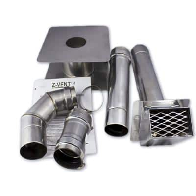 3 in. x 1 in. Horizontal Stainless Steel Venting Kit