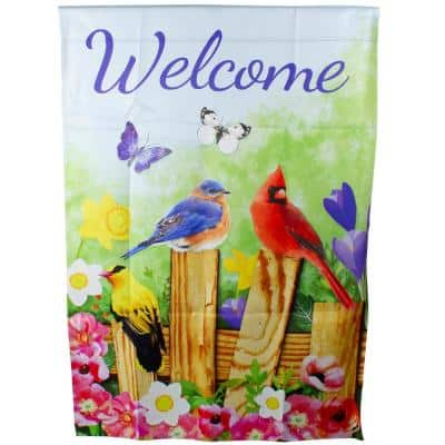 28 in. x 40 in. Welcome Birds on a Fence Outdoor Garden Flag