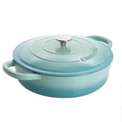 Artisan 5 qt. Round Enameled Cast Iron Braiser Pan with Self Basting Lid in Aqua Blue