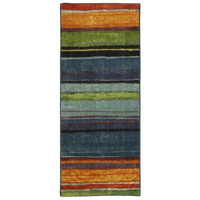 Rainbow Multi 2 ft. x 5 ft. Machine Washable Striped Contemporary Runner Rug