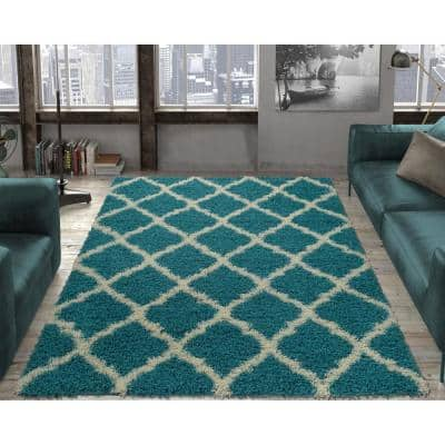 Ultimate Shag Contemporary Moroccan Trellis Design Turquoise 5 ft. x 7 ft. Area Rug
