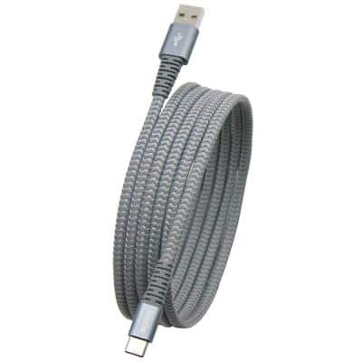 MobileSpec 6 ft. Heavy-Duty USB-C Charge and Sync Cable in Silver