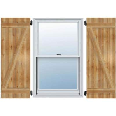 """16-1/8"""" X 67""""Timbercraft Rustic Wood Three 5-3/8""""Joined Board and Batten Shutters with Z-Bar Rough Sawn Cedar(pair)"""