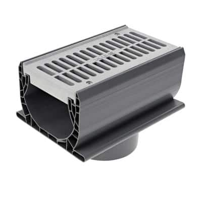 7 in. Spee-D Channel Drain with Grate and 3 in. and 4 in. Bottom Outlet