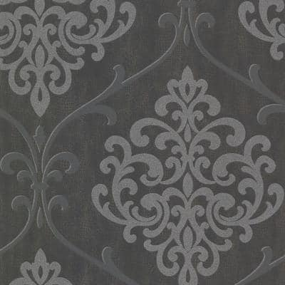Ambrosia Charcoal Glitter Damask Paper Strippable Roll Wallpaper (Covers 56.4 sq. ft.)