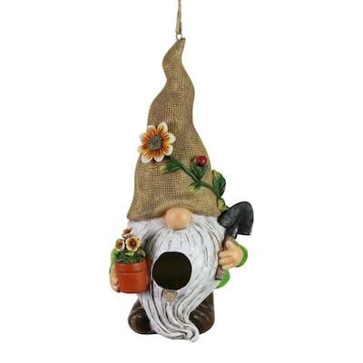 Gardening Gnome Hanging Resin Birdhouse