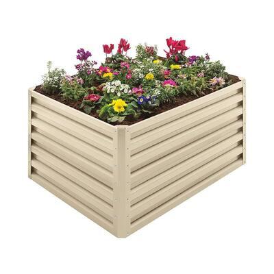 20 cu. ft. Beige Steel Double Height Rectangle Garden Plant Bed