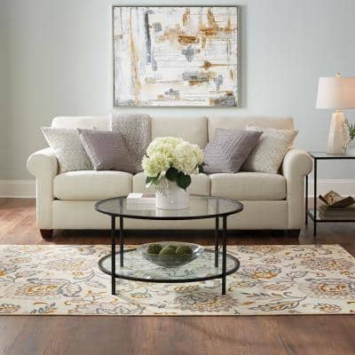 Paladium Beige 8 ft. x 10 ft. Floral Area Rug