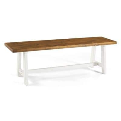 60 in. Reclaimed Barnwood/White Wash Solid Wood Dining Bench