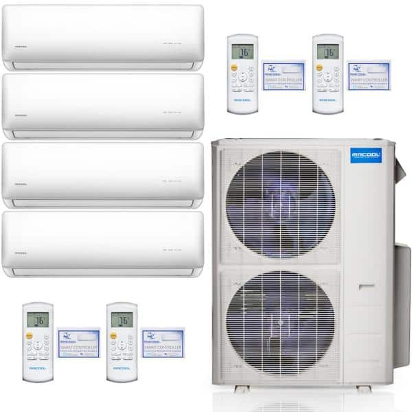 Mrcool Olympus 42 000 Btu 3 5 Ton 4 Zone Ductless Mini Split Air Conditioner And Heat Pump 16 Ft Install Kit 230v 60hz M448hp23wm03ak1 The Home Depot