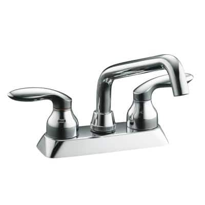 Coralais 4 in. 2-Handle Low-Arc Bathroom Sink Faucet in Polished Chrome