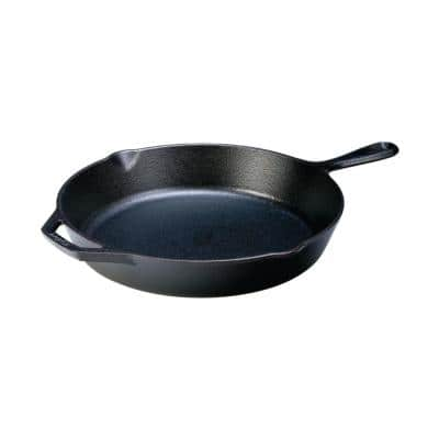 12 in. Cast Iron Skillet in Black with Pour Spout