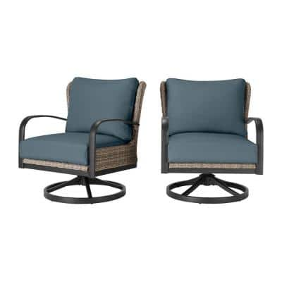 Hazelhurst Brown Wicker Outdoor Patio Swivel Lounge Chair with Sunbrella Denim Blue Cushions (2-Pack)