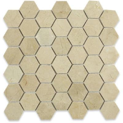 Hexagon 11.75 in. x 11.75 in. x 10 mm Polished Marble Floor and Wall Tile