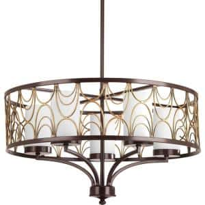 Cirrine Collection 5-Light Antique Bronze Etched White Glass Global Chandelier Light