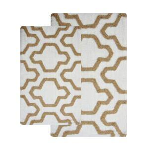 24 in. x 17 in. and 34 in. x 21 in. 2-Piece Cotton Bath Rug Set in White and Beige