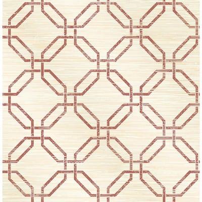 Phaius Burgundy Trellis Burgundy Wallpaper Sample