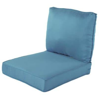 Spring Haven 23.5 in. x 26.5 in. 2-Piece Outdoor Lounge Chair Cushion in Washed Blue