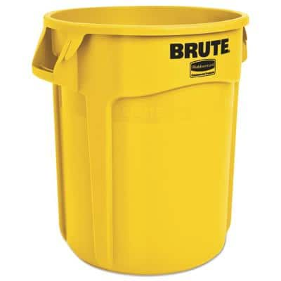 Brute 20 Gal. Yellow Plastic Round Trash Can