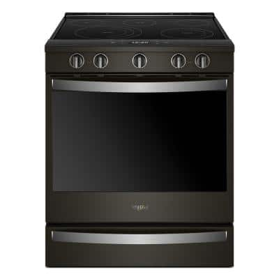 6.4 cu. ft. Smart Slide-In Electric Range with Scan-to-Cook Technology in Fingerprint Resistant Black Stainless