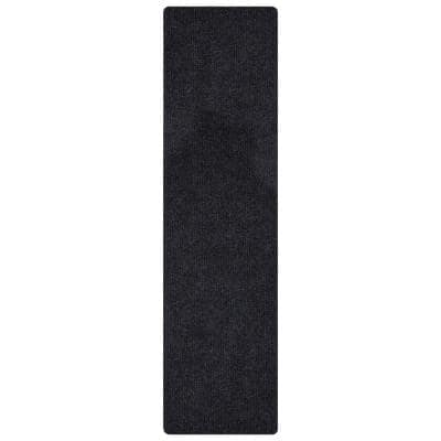 Lifesaver Collection Black 2 ft. 7 in x 9 ft. 10 in. Utility Ribbed Indoor/Outdoor Runner Rug