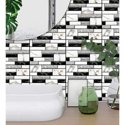 3D PVC Peel and Stick Mosaic Tile Peelable Sticker 12 in. x 12 in. / Piece (Set of 120-Piece)