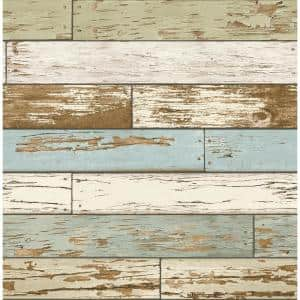 Rosemead, Scrap Wood Sky Blue Weathered Texture Paper Strippable Wallpaper Roll (Covers 56 sq. ft.)