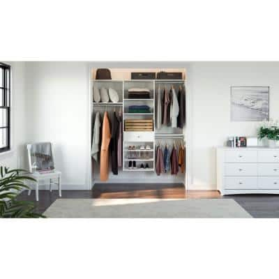 14 in. D x 72 in. W x 72 in. H Classic White Perfect Fit Wood Closet Kit