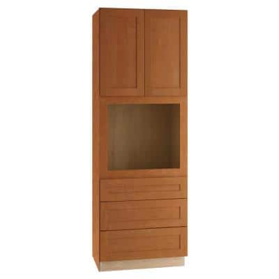 Hargrove Assembled 33x90x24 in. Plywood Shaker Oven Kitchen Cabinet Soft Close in Stained Cinnamon