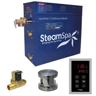 Oasis 9kW QuickStart Steam Bath Generator Package with Built-In Auto Drain in Polished Brushed Nickel