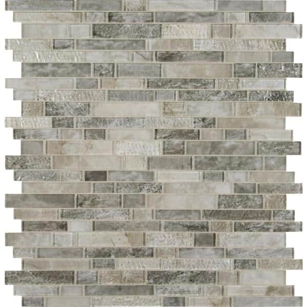 Msi Savoy Interlocking 12 In X 12 In X 8mm Glass Mesh Mounted Mosaic Tile 10 Sq Ft Case Glsil Savoy8mm The Home Depot