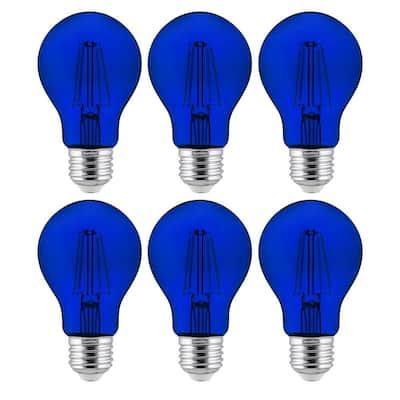 60-Watt Equivalent A19 Dimmable Filament E26 Medium Base LED Blue Light Bulbs (6-Pack)