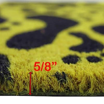 Footprints Yellow and Black 16 in. x 24 in. Coir Rubber Door Mat