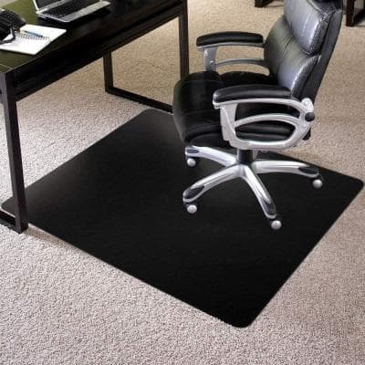36 by 48 Inch Rectangle Carpet Computer Desk Chair Mat, Black