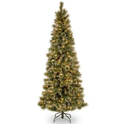 6.5 ft. Glittery Bristle Pine Slim Artificial Christmas Tree with Warm White LED Lights