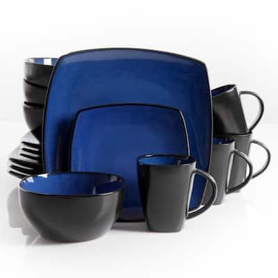 Soho Lounge 16-Piece Contemporary Blue Stone Dinnerware Set (Service for 4)