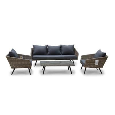 Encino 4-Piece Aluminum Outdoor Sofa Set with Gray Cushions