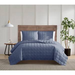 Silver Cool 3-Piece Blue King Cotton Quilt Set