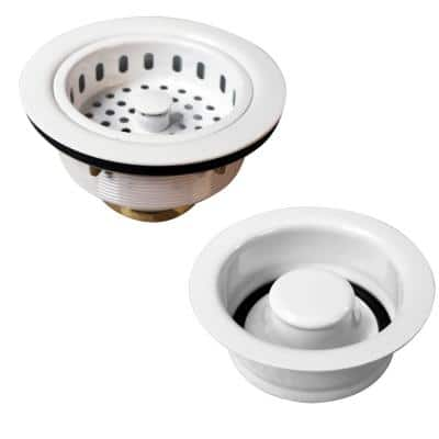 3-1/2 in. Post Style Large Kitchen Basket Strainer with Disposal Flange and Stopper in Powder Coat White