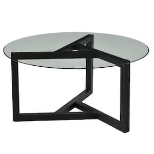 Espresso 36 in. Round Glass Coffee Table