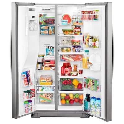 21 cu. ft. Side By Side Refrigerator in Fingerprint Resistant Stainless Steel, Counter Depth