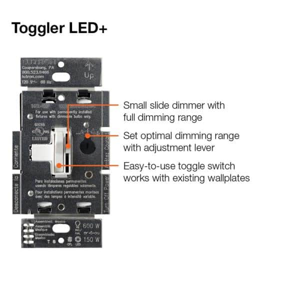 Lutron Toggler LED+ Dimmer Switch for Dimmable LED, Halogen and  Incandescent Bulbs, Single-Pole or 3-Way, Light Almond (2-Pack)-TGCL-2PK-LA  - The Home DepotThe Home Depot